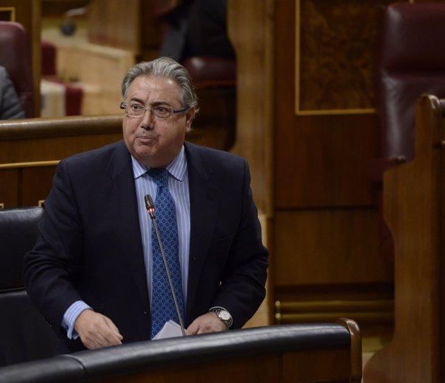 El ministro Juan Ignacio Zoido, en la sesión de control