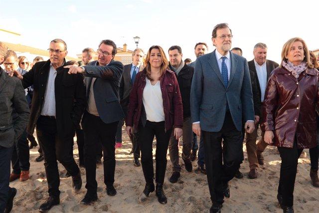 Mariano Rajoy y Susana Díaz visitan la zona afectada por el temporal en Huelva