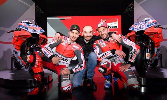 Jorge Lorenzo, Claudio Domenicali, Andrea Dovizioso Ducati