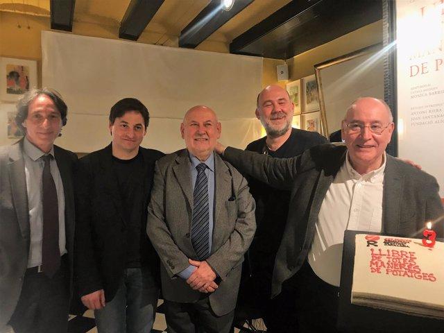 A la izquierda, J.Portabella, J.Santanach, T.Riera, T.Massanes y F.Solé
