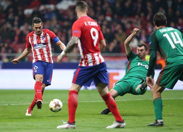 Koke marca en el Atlético - Lokomotiv