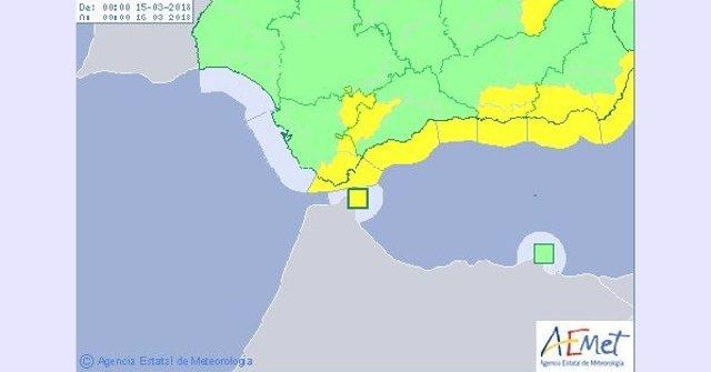 Avisos por viento y lluvia activos este jueves 15 de marzo en Andalucía