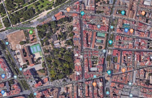 Calle Turia junto al Jardín Botánico
