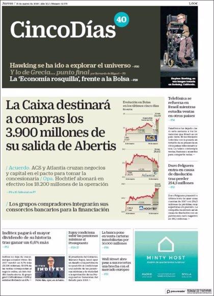 Las portadas de los periódicos económicos de hoy, jueves 15 de marzo