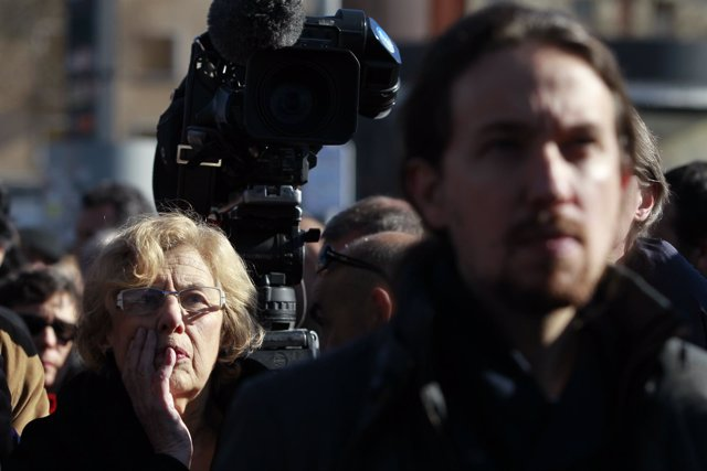 Manuela Carmena y Pablo Iglesias en un acto por el 11M