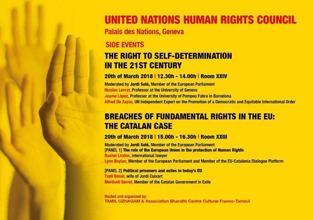 Cartel de un debate sobre derechos humanos en Ginebra