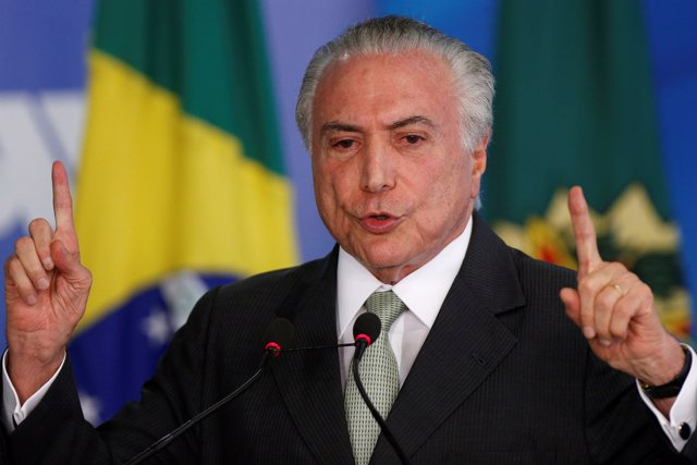 Brazil's President Michel Temer speaks during a swearing-in ceremony at the Plan