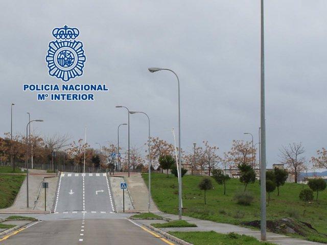 Zona afectada por el robo de cable de cobre del alumbrado público en Granada