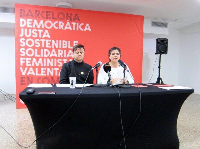 Los Portavoces De Bcomú Enric Bárcena Y Gala Pin