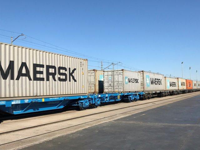 Contenedores en un tren en la tmZ