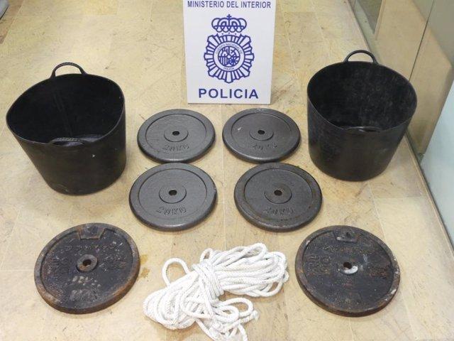 Pesas utilizadas en el secuestro de Algeciras
