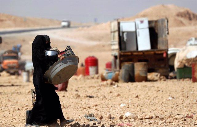 Mujeres desplazadas en Siria