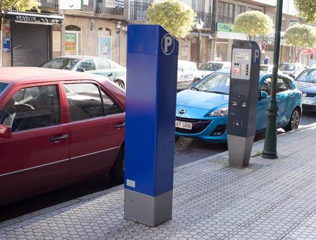 Máquina de la ORA en Santiago de Compostela