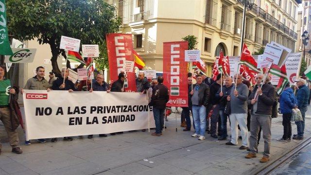 Protesta de personal de mantenimiento de hospitales del SAS
