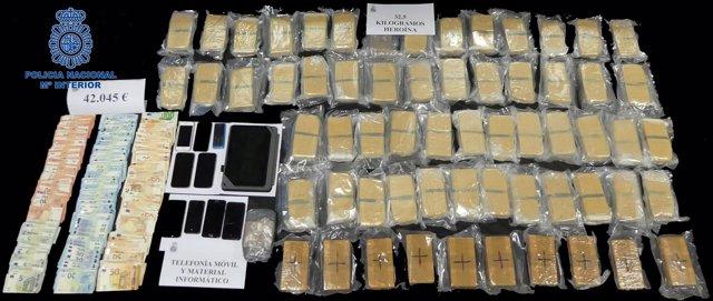 Cocaína incautada a una red de distribución entre Lisboa y España