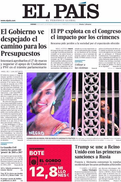 Las portadas de los periódicos de hoy, viernes 16 de marzo de 2018