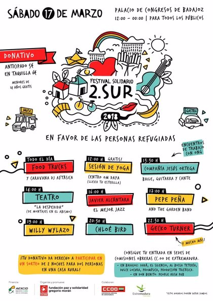 El Festival Solidario 2.SUR recaudará fondos para las personas refugiadas este sábado en Badajoz
