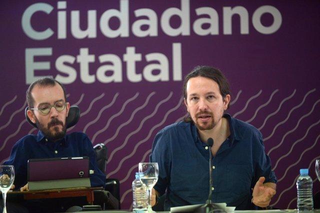Pablo Iglesias y Pablo Echenique en el Consejo Ciudadano Estatal de Podemos