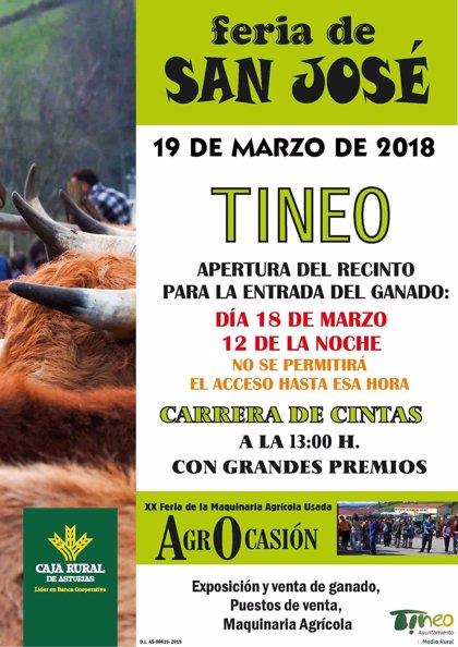 Tineo celebra la tradicional feria ganadera de San José, con venta de maquinaria usada y de todo tipo de product