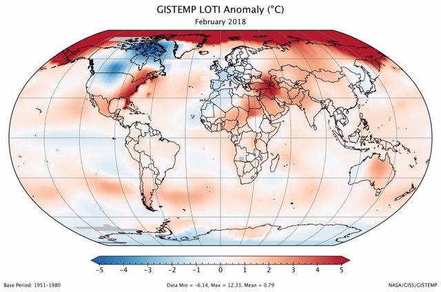 Anomalía mundial de temperaturas de febrero de 2018