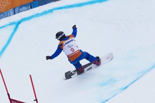 Astris Fina durante una de sus bajadas de banke slalom
