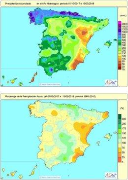 Evolución de las precipitaciones hasta el 13 de marzo de 2018