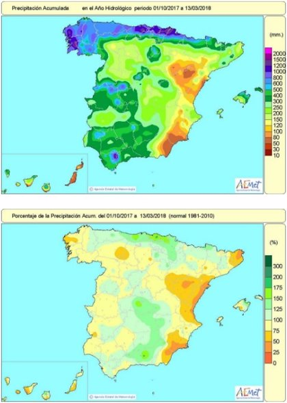 Las lluvias de esta semana acercan el balance hídrico del año hidrológico a niveles casi normales