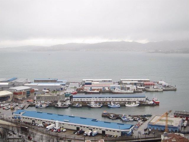 Flota amarrada en Vigo por el temporal