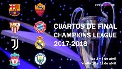 Juventus-Reial Madrid, Barcelona-Roma i Sevilla-Bayern, quarts de final de la Champions (EUROPA PRESS)