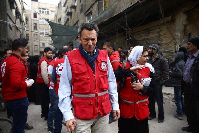Peter Maurer en Ghuta Oriental, Siria