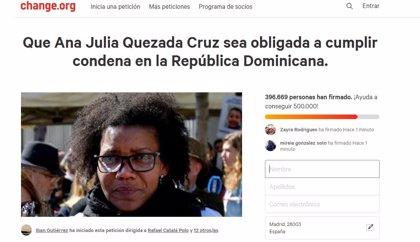 Ana Julia Quezada no puede ser expulsada a R.Dominicana para cumplir condena como piden más de 409.000 personas