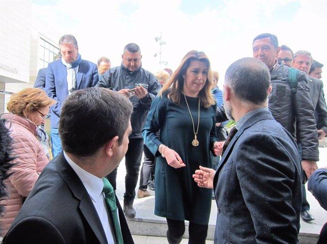 Susana Díaz, a su llegada a la V Feria de los Pueblos de Jaén.