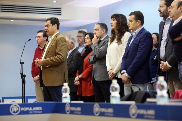 Juanma Moreno presidente del PP-A junto a secretarios generales y presidentes PP