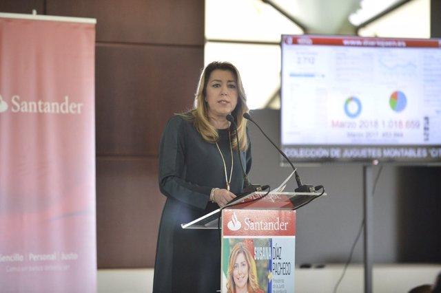 Susana Díaz, en un desayuno informativo en Jaén