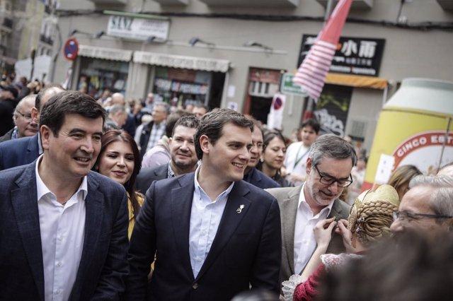 El líder de la formación naranja, en su visita a València