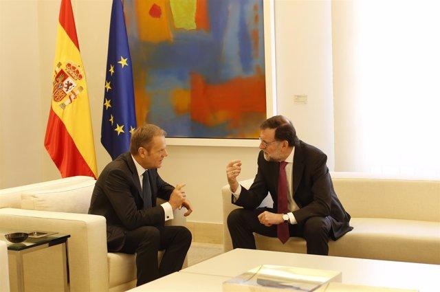 Rajoy recibe a Donald Tusk, presidente del Consejo Europeo