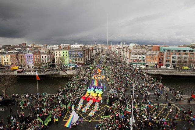 Huge crowds gather for the St Patrick's Day Parade on O'Connell Street, Dublin.