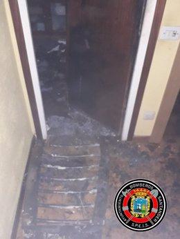 Vivienda incendidada en Santander