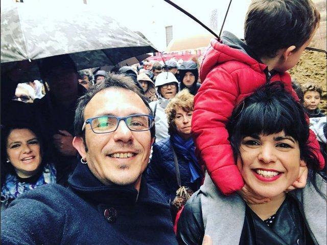 José María González y Teresa Rodríguez en la manifestación por pensiones dignas