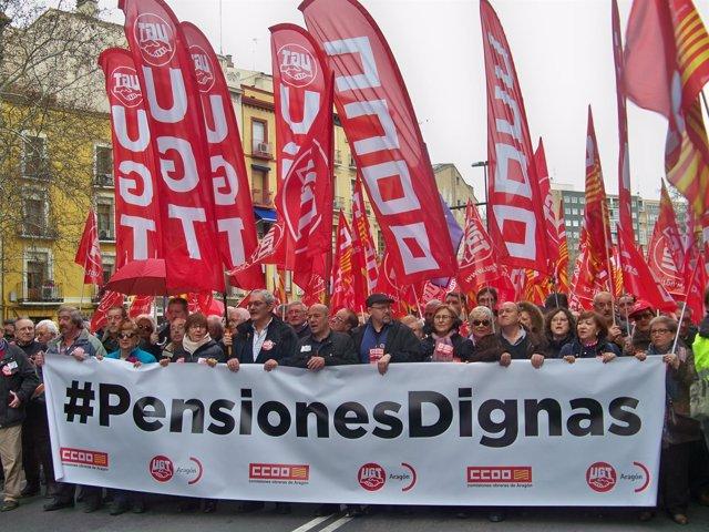 Manifestación de UGT y CC.OO. Por las pensiones.
