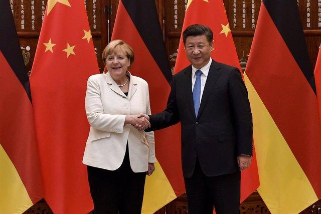 Angela Merkel y Xi Jinping