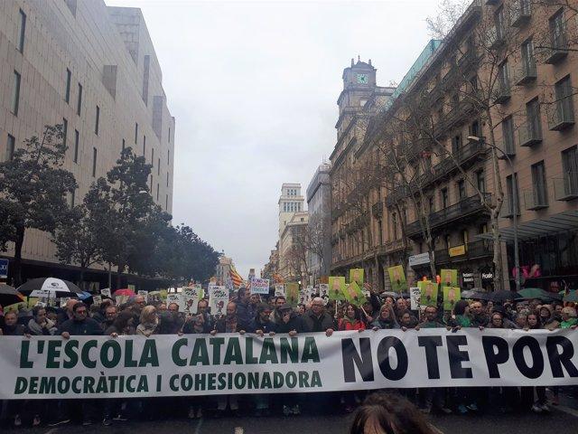 Manifestación en Barcelona en defensa del modelo de escuela catalana
