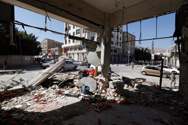 Edificio destruido en Saná