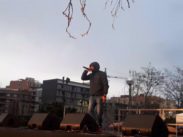 El rapero Valtonyc en la manifestación de Somescola en Barcelona