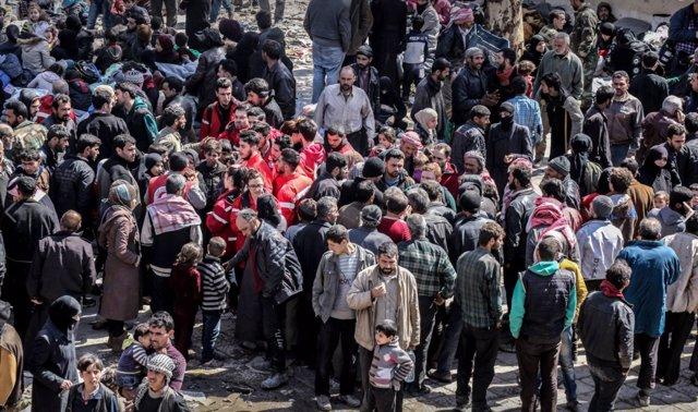 Desplazados sirios en Ghuta Oriental