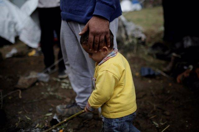 Refugiado sirio en campamento de Lesbos