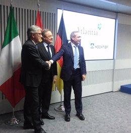 Florentino Pérez, Marcelino Fernández y Giovanni Castellucci