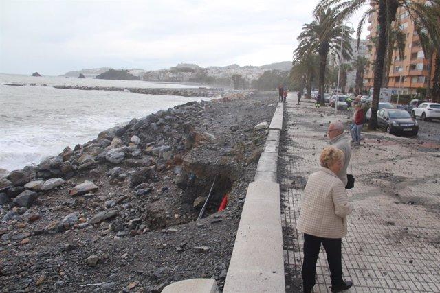 Daños por el temporal en Almuñécar (Granada)