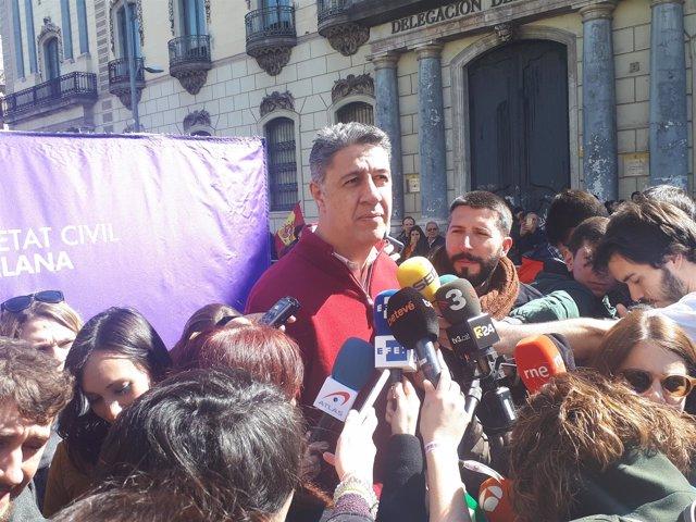 X. Garcia Albiol en declaraciones a los medios antes de la manifestación