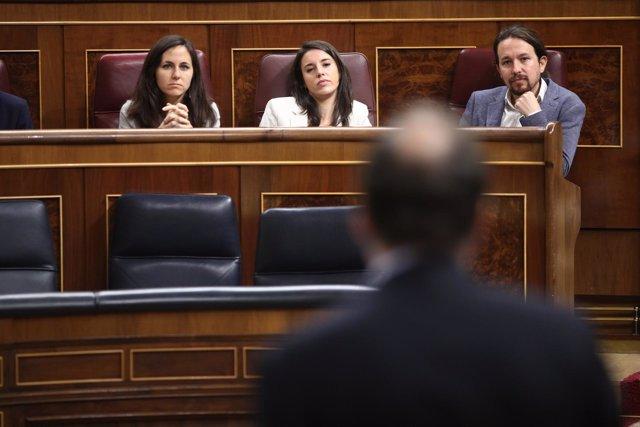 Pablo Iglesias y Rajoy en la sesión de control en el Congreso